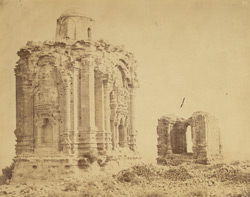 General view of ruined temple and gateway in Kashmiri style, Malot, Jhelum District